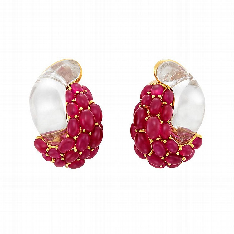 Pair of Gold, Rock Crystal and Cabochon Ruby Earclips, Seaman Schepps