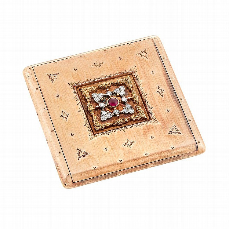Two-Color Gold, Cabochon Ruby and Diamond Compact, Mario Buccellati