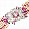 Rose Gold, Platinum, Diamond and Ruby Cuff Bracelet