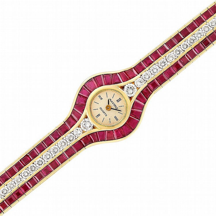 Gold, Ruby and Diamond ''Alder'' Bracelet-Watch, Mayor''s