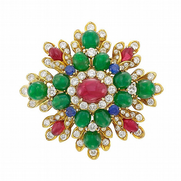 Gold, Cabochon Colored Stone and Diamond Brooch