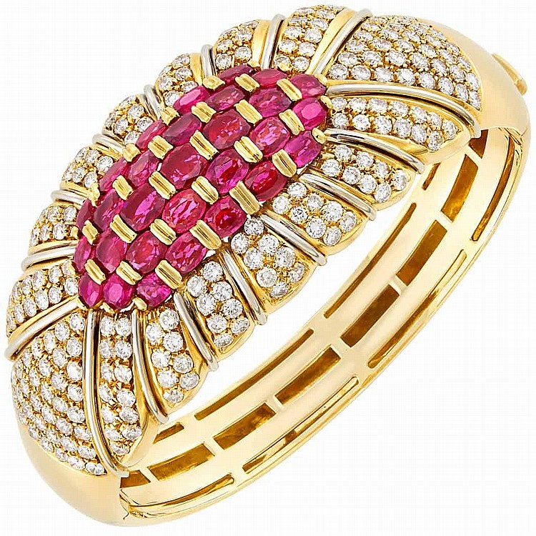 Gold, Ruby and Diamond Bangle Bracelet