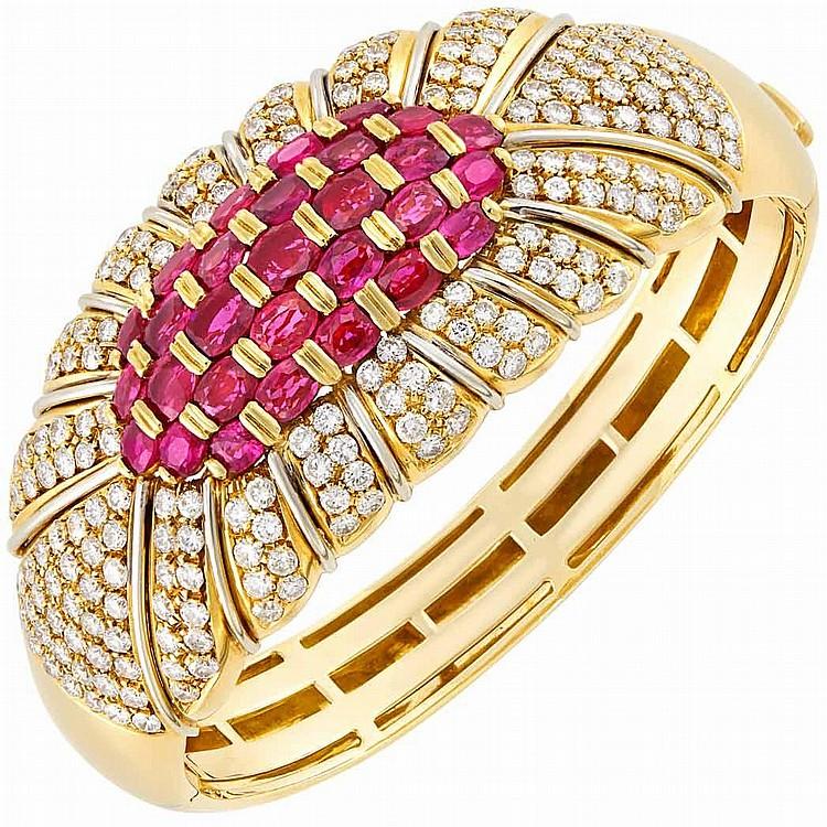 Gold, Ruby and Diamond Bangle Bracelet