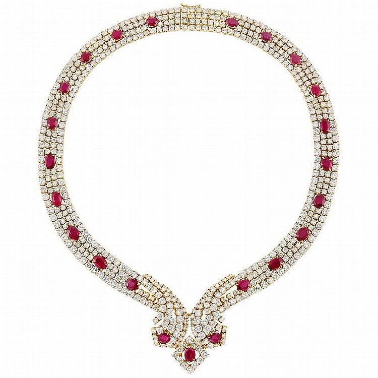 Gold, Ruby and Diamond Necklace, Retailed by Black, Starr & Frost