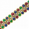 Gold, Cabochon Gem-Set and Diamond Bracelet, Trio