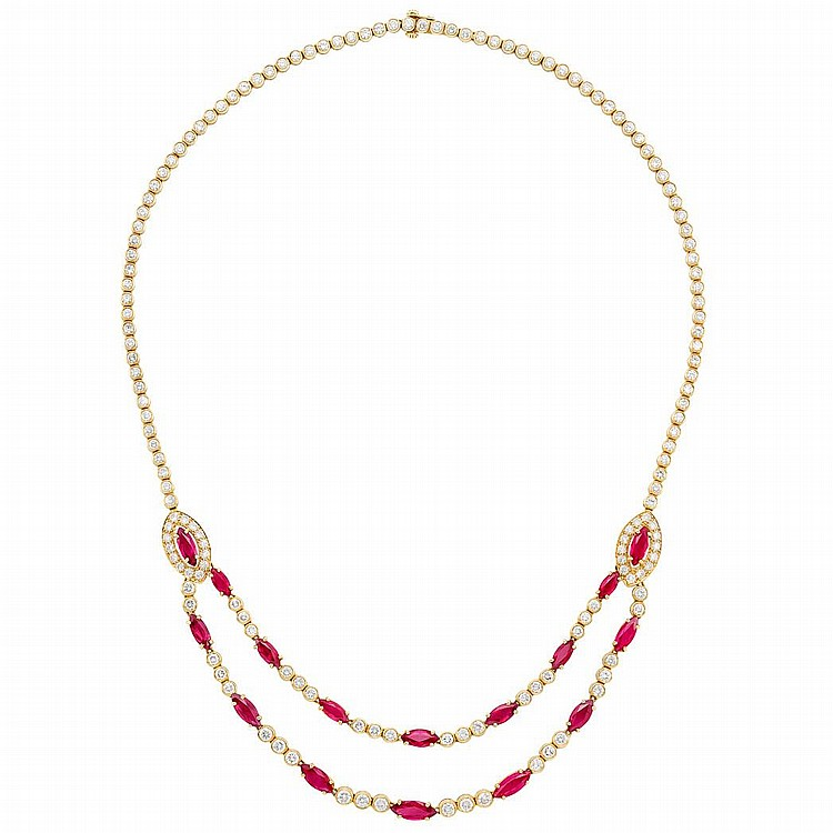 Gold, Ruby and Diamond Necklace, Oscar Heyman Brothers