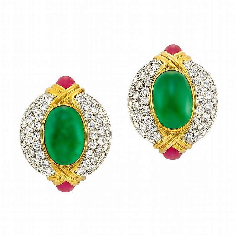Pair of Gold, Platinum, Cabochon Emerald and Ruby and Diamond Earclips, Trio