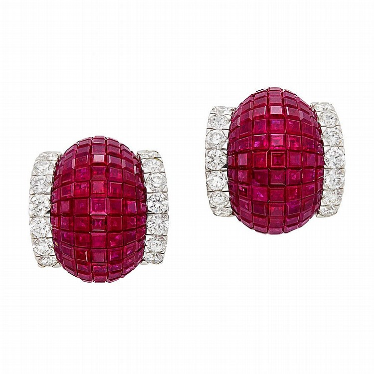 Pair of White Gold, Invisibly-Set Ruby and Diamond Bombe Earrings