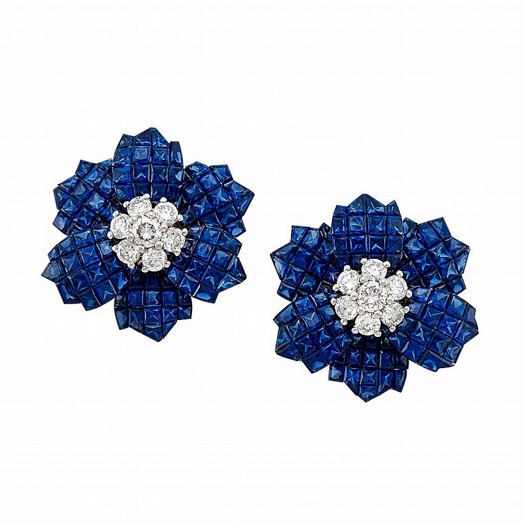 Pair of Gold, Platinum, Invisibly-Set Sapphire and Diamond Flower Earclips