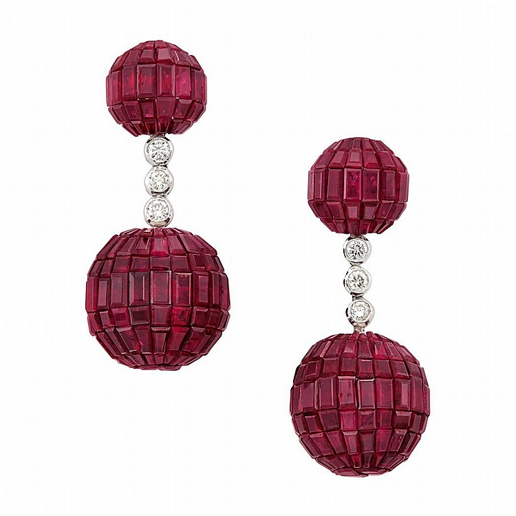 Pair of White Gold, Invisibly-Set Ruby and Diamond Pendant-Earrings
