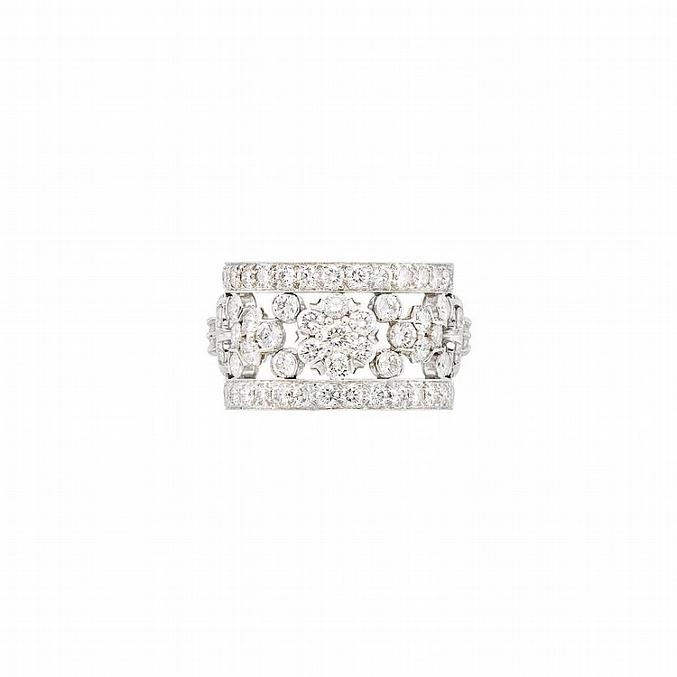 Platinum and Diamond ''Snowflake'' Band Ring, Van Cleef & Arpels