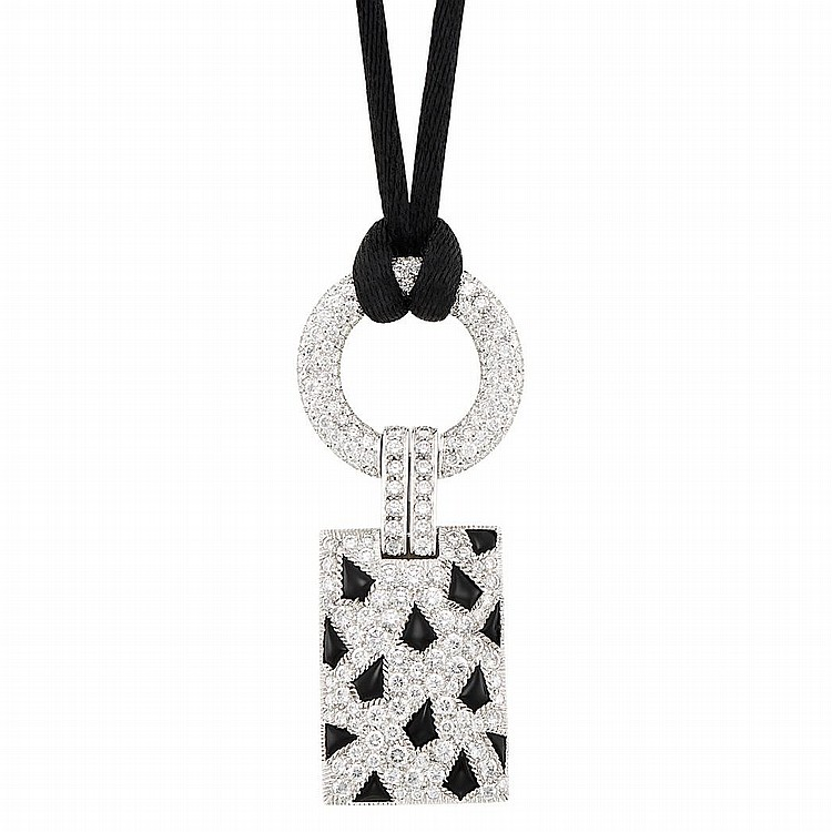 White Gold, Diamond and Black Onyx ''Panthere'' Pendant with Satin Cord, Cartier, France