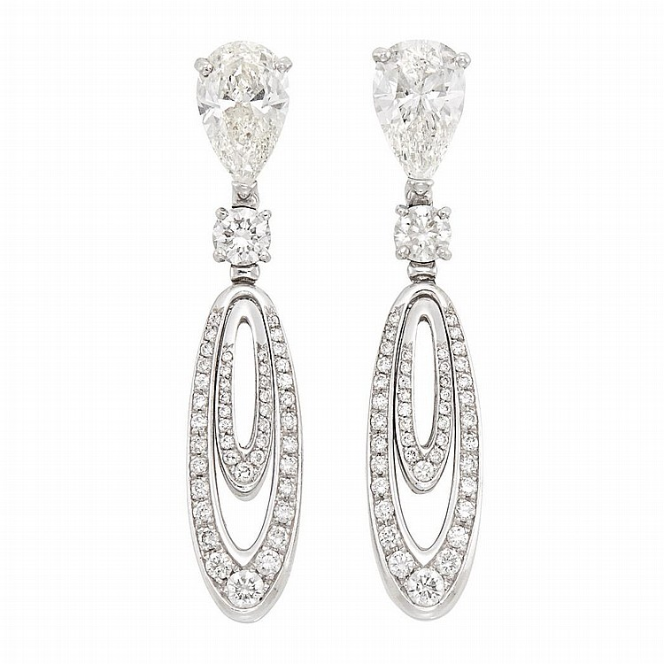 Pair of White Gold and Diamond Pendant-Earrings, Bulgari