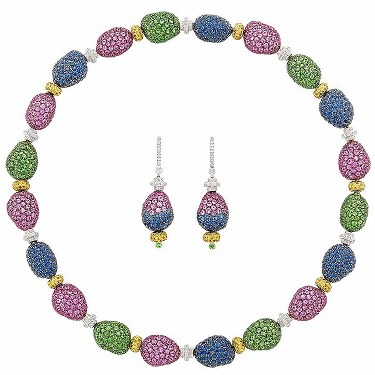 White Gold, Multicolored Gem-Set and Diamond Necklace and Pair of Pendant-Earrings