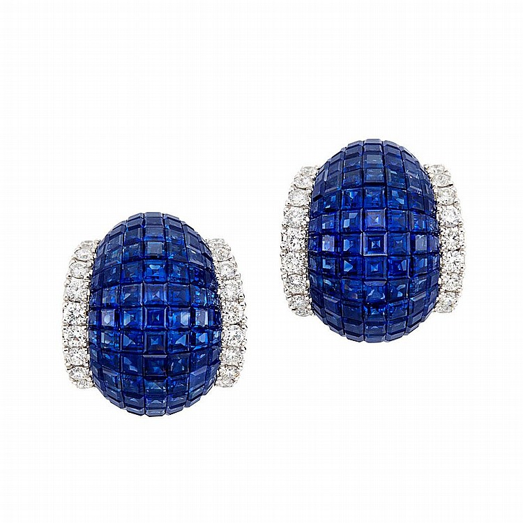 Pair of White Gold, Invisibly-Set Sapphire and Diamond Bombe Earrings