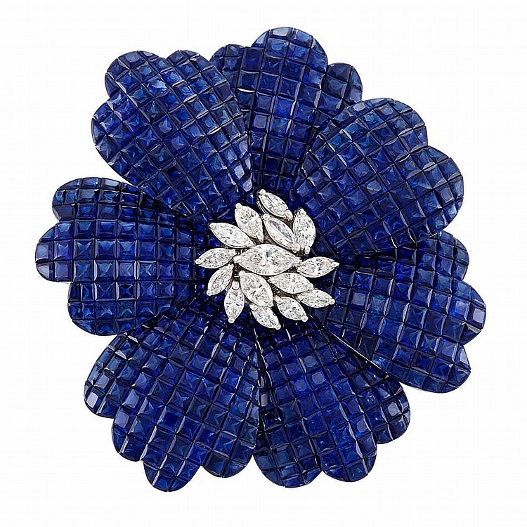 White Gold, Invisibly-Set Sapphire and Diamond Flower Clip-Brooch, Alexis
