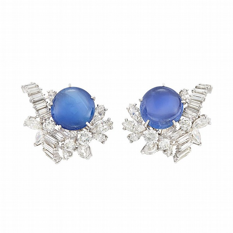 Pair of White Gold, Cabochon Sapphire and Diamond Earrings