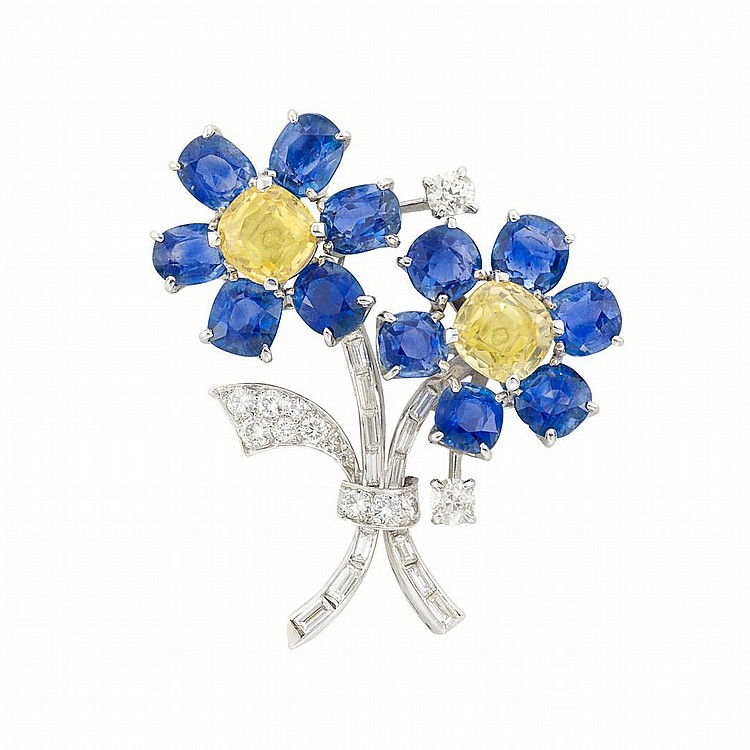 Platinum, Yellow Sapphire, Sapphire and Diamond Flower Brooch