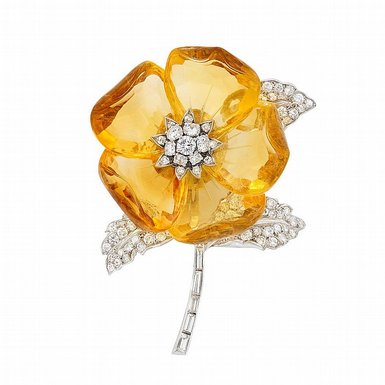 Carved Citrine, Platinum and Diamond Flower Clip-Brooch, France