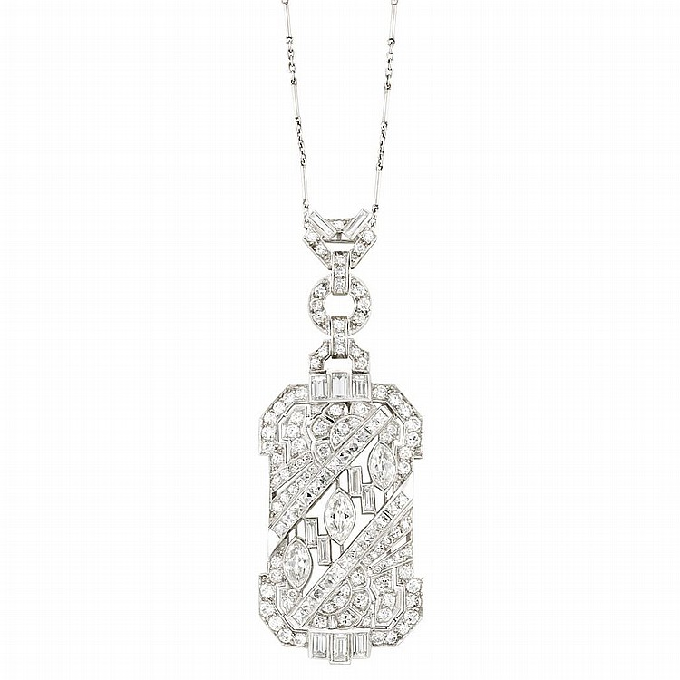 Platinum and Diamond Pendant-Brooch with White Gold and Diamond Chain