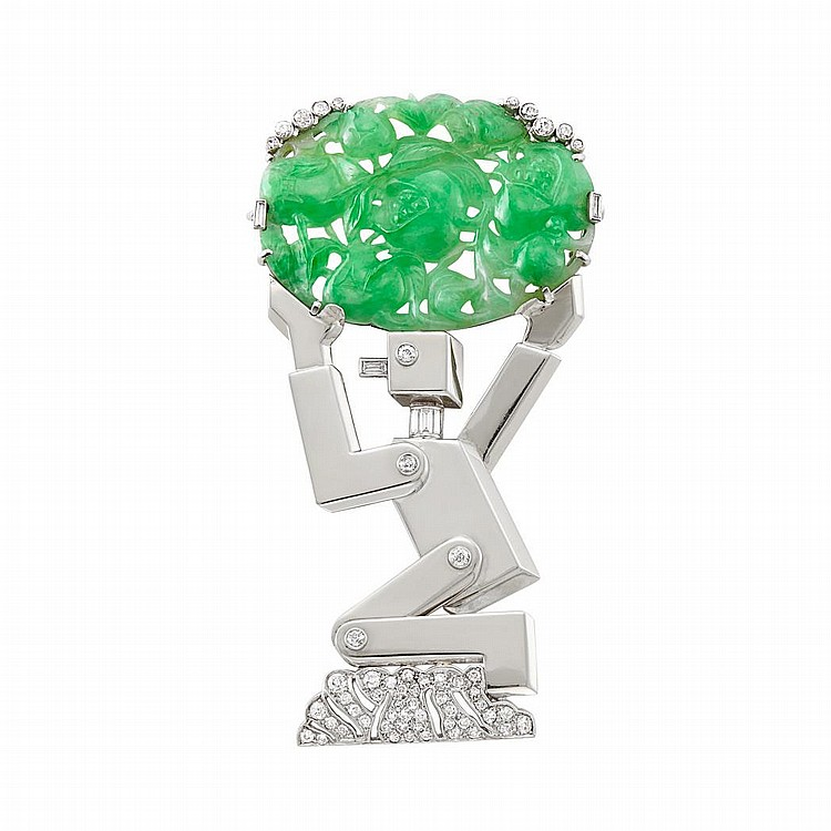 Palladium, White Gold, Carved Jade and Diamond Robot Clip-Brooch