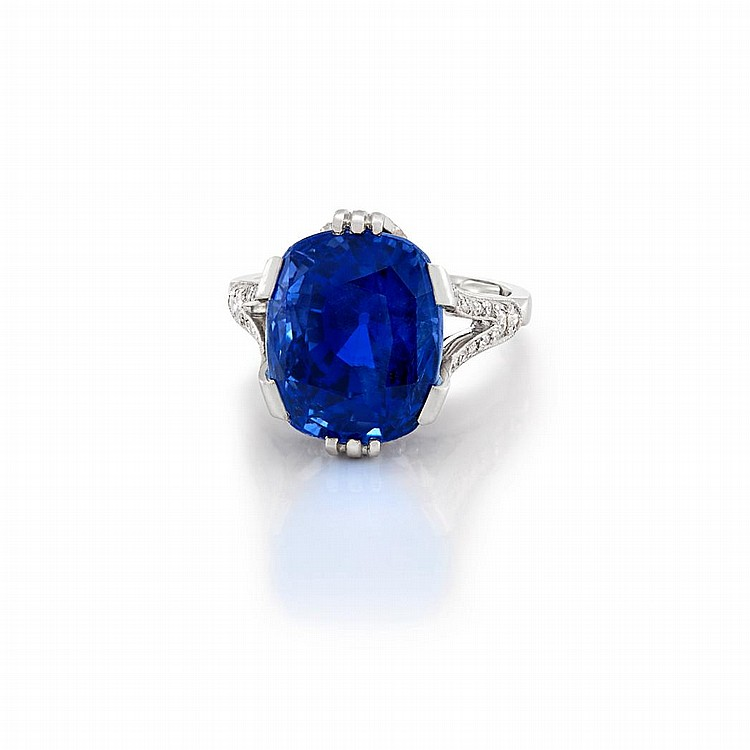 Antique Platinum, Sapphire and Diamond Ring, France