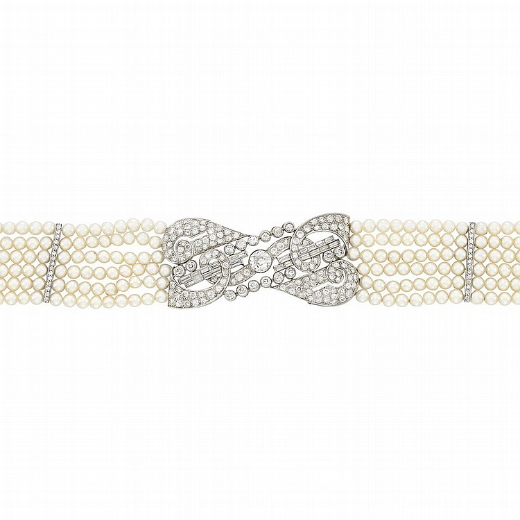 Six Strand Cultured Pearl, Platinum, White Gold and Diamond Choker Necklace