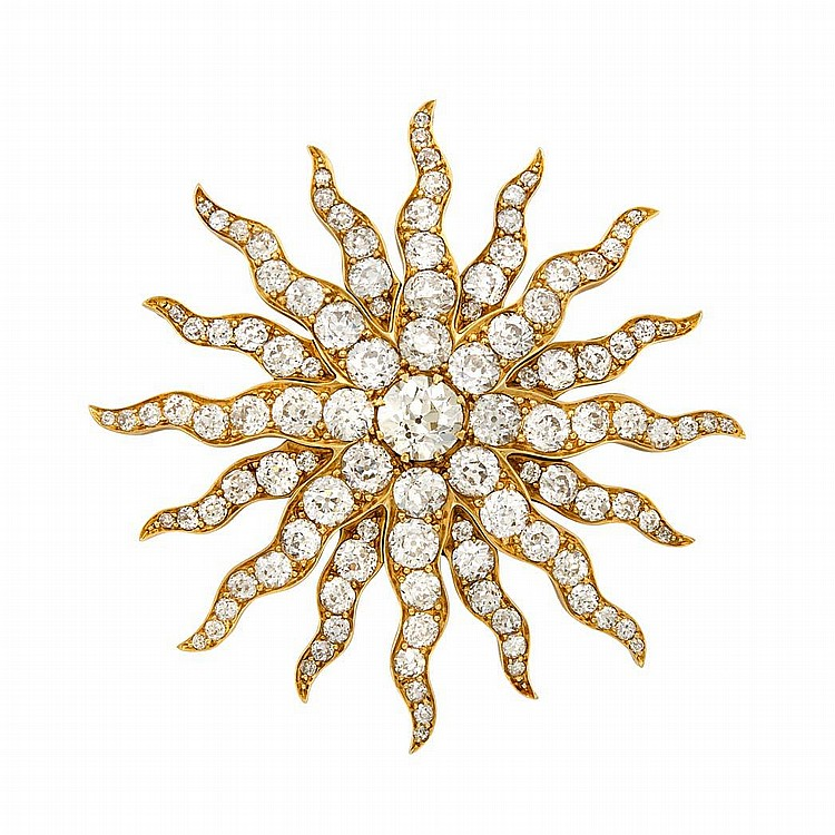 Antique Gold and Diamond Sunburst Pendant-Brooch