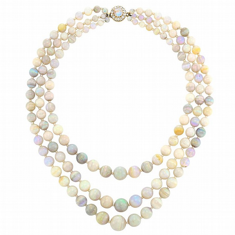 Triple Strand Opal Bead and Seed Pearl Necklace with Gold, Opal and Diamond Clasp