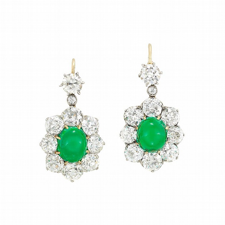 Pair of Antique Platinum, Gold, Cabochon Emerald and Diamond Earrings