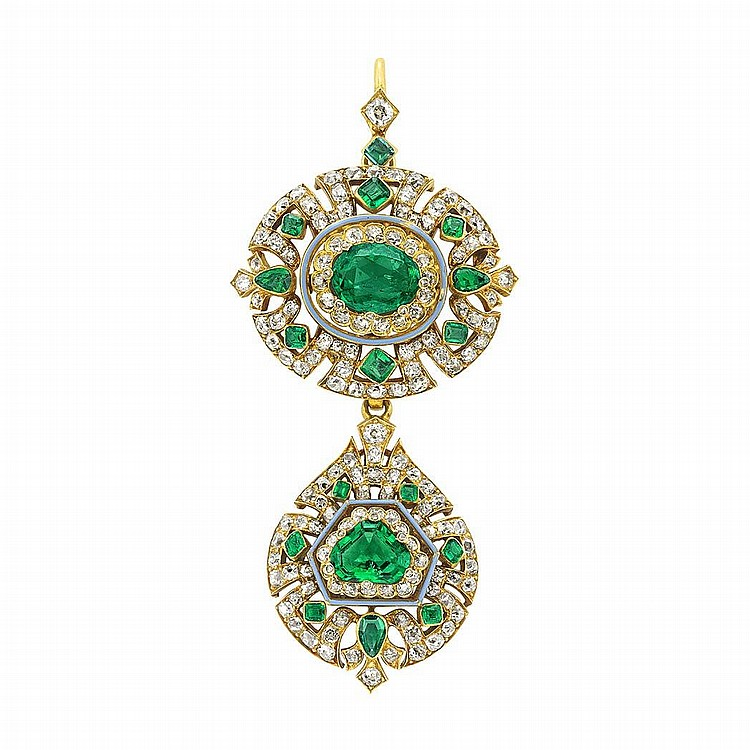 Antique Gold, Emerald and Diamond Pendant