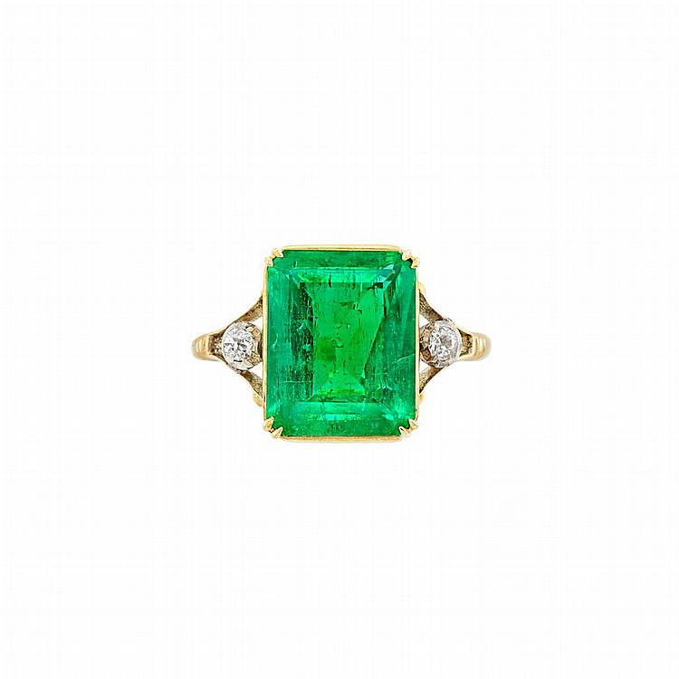 Antique Gold, Silver, Emerald and Diamond Ring