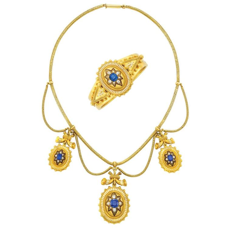 Archaeological Revival Gold, Enamel, Sapphire and Diamond Swag Snake Chain Necklace and Bangle Bracelet