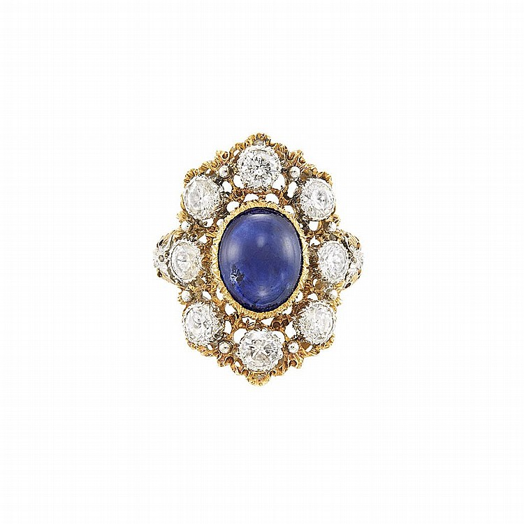 Two-Color Gold, Cabochon Sapphire and Diamond Ring, Mario Buccellati