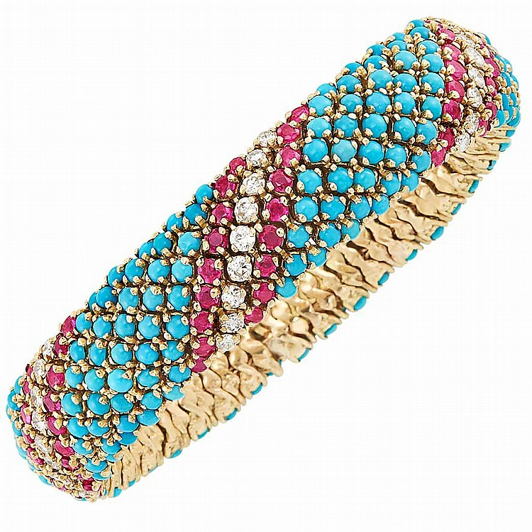 Gold, Turquoise, Ruby and Diamond Bracelet
