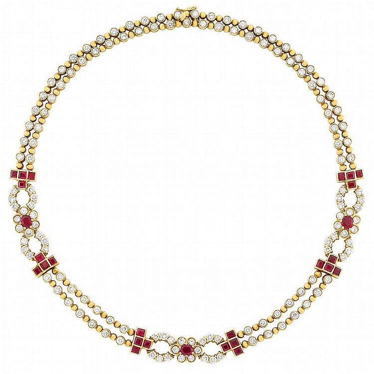 Gold, Diamond and Ruby Necklace, Chaumet, Paris