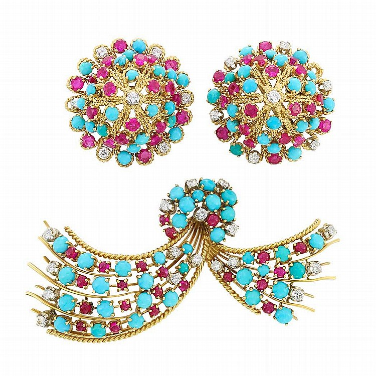 Gold, Turquoise, Ruby, Cabochon Ruby and Diamond Brooch and Pair of Earclips, Nardi