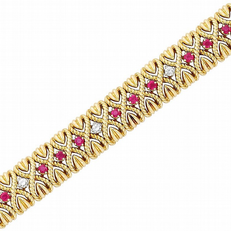 Gold, Ruby and Diamond Bracelet, Van Cleef & Arpels, France