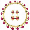 Two-Color Gold, Carved Ruby and Cabochon Gem-Set Necklace and Pair of Pendant-Earrings