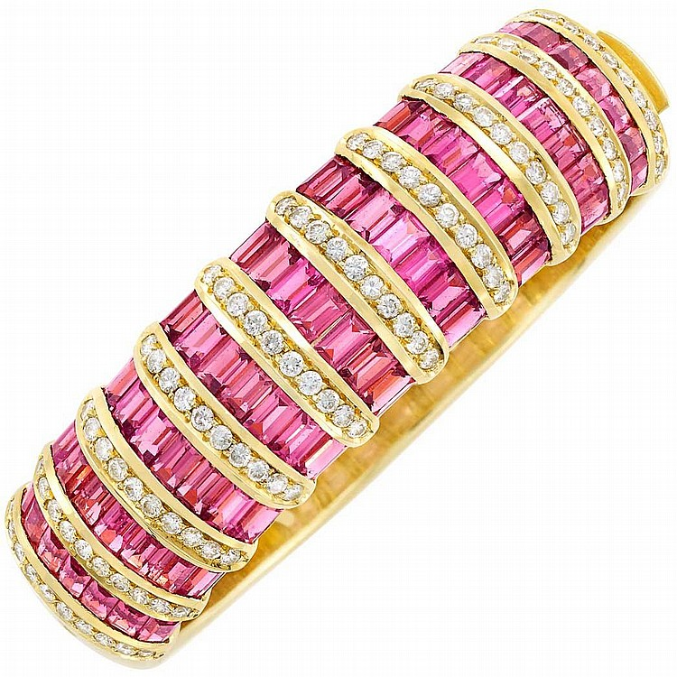 Gold, Pink Tourmaline and Diamond Bangle Bracelet, by H. Stern