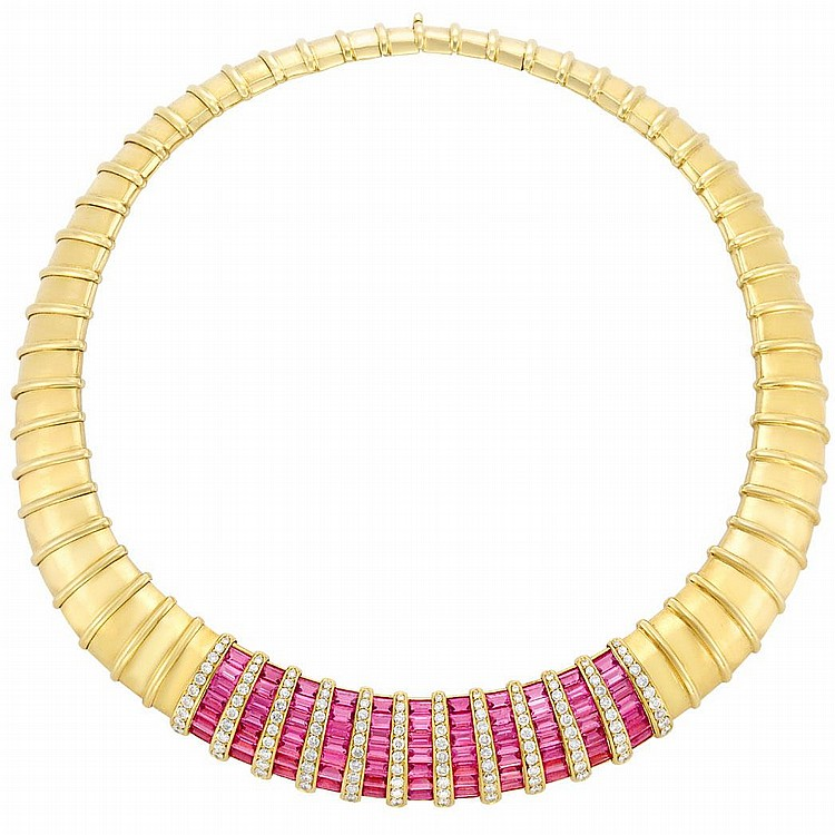 Gold, Pink Tourmaline and Diamond Necklace, by H. Stern