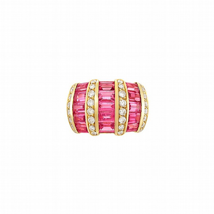 Gold, Pink Tourmaline and Diamond Ring, by H. Stern