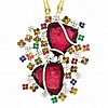 Two-Color Gold, Sliced Watermelon Tourmaline, Multicolored Stone and Diamond Pendant-Necklace