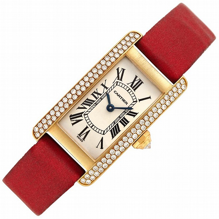 Gold and Diamond ''Tank Americaine'' Wristwatch, Cartier, Ref. 1710