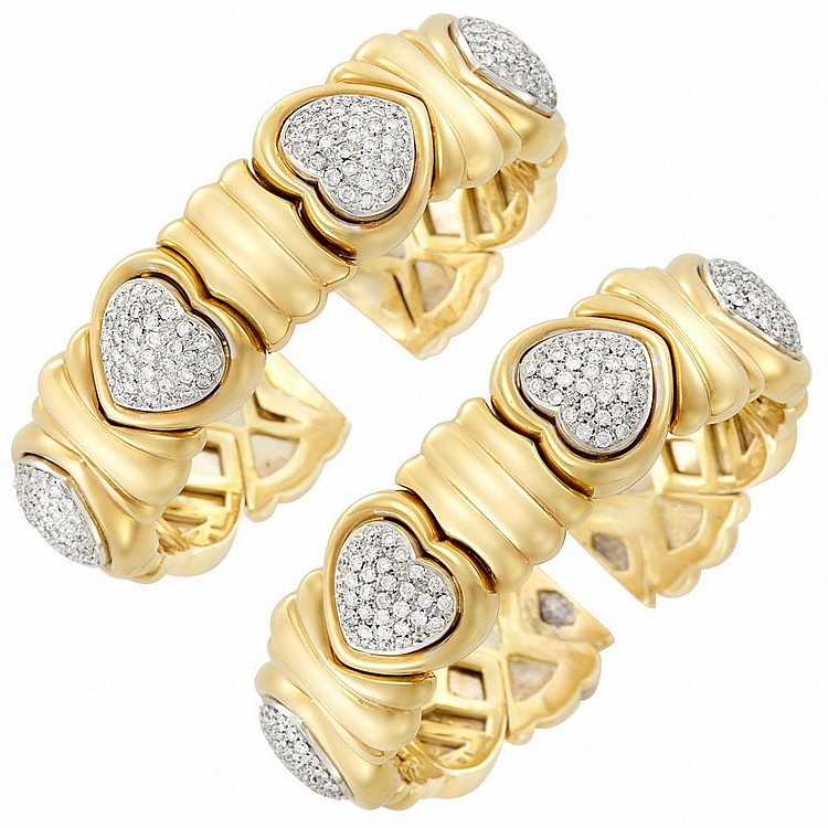 Pair of Two-Color Gold and Diamond Bangle Bracelets