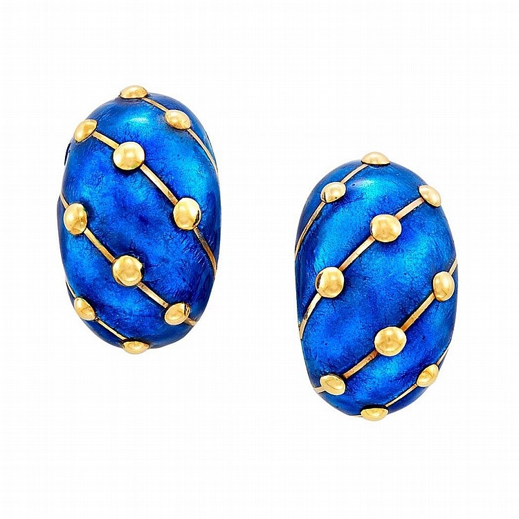 Pair of Gold and Blue Enamel Earclips, Tiffany & Co., Schlumberger, France