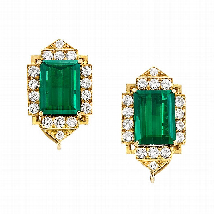 Pair of Gold, Tourmaline and Diamond Earclips, David Webb