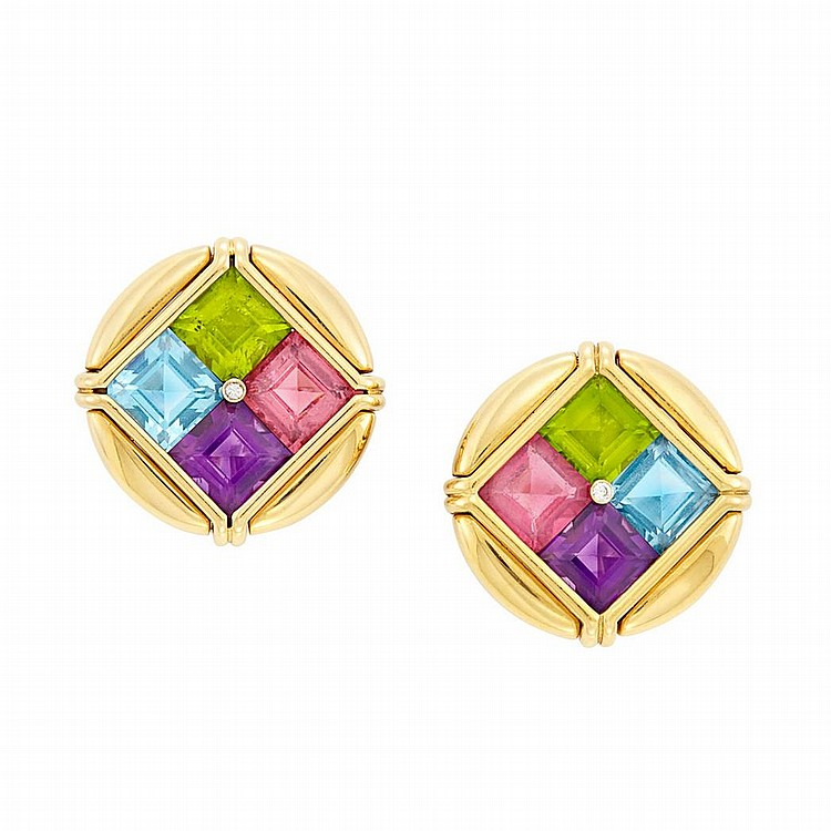 Pair of Gold, Multicolored Stone and Diamond Earclips, Bulgari