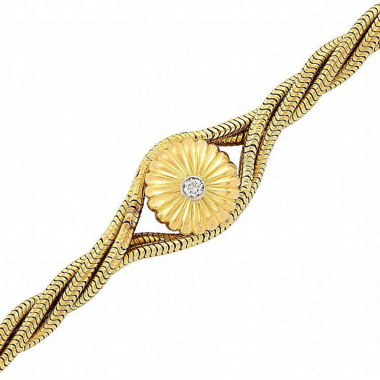 Four Strand Gold and Diamond Snake Chain Bracelet-Watch, Cartier, France