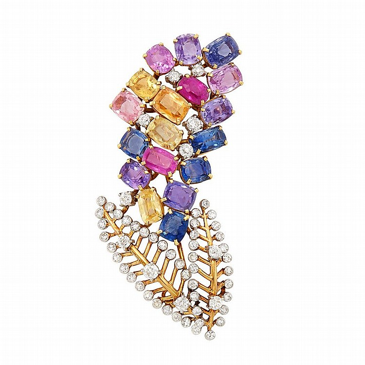 Gold, Platinum, Multicolored Sapphire and Diamond Clip